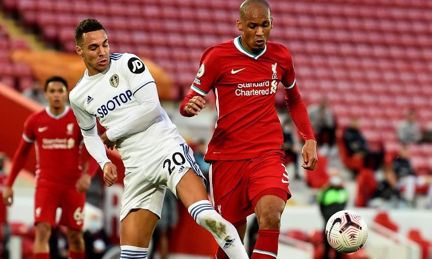 Fabinho in action during Liverpool v Leeds United