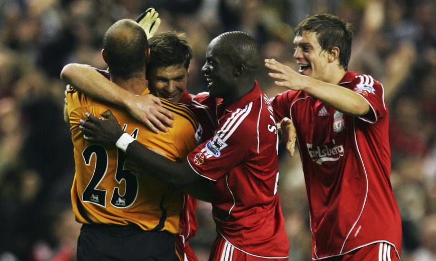 Xabi Alonso celebrates scoring against Newcastle United