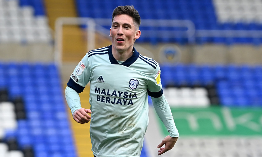 Harry Wilson celebrates scoring a hat-trick for Cardiff City