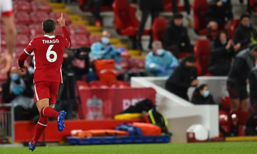 Thiago Alcantara celebrates scoring against Southampton
