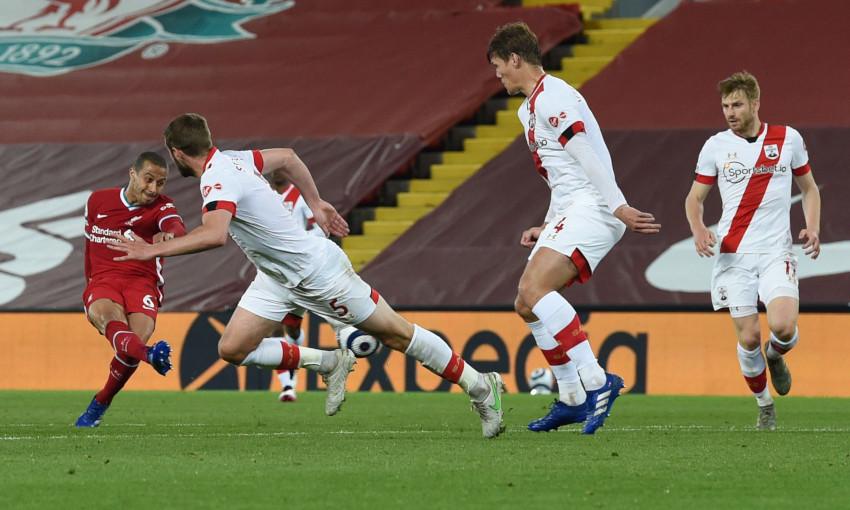 Thiago Alcantara scores against Southampton