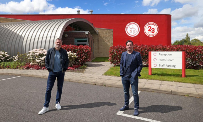 Jamie Carragher and Robbie Fowler at Melwood