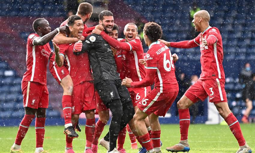 Alisson Becker scoring for Liverpool FC