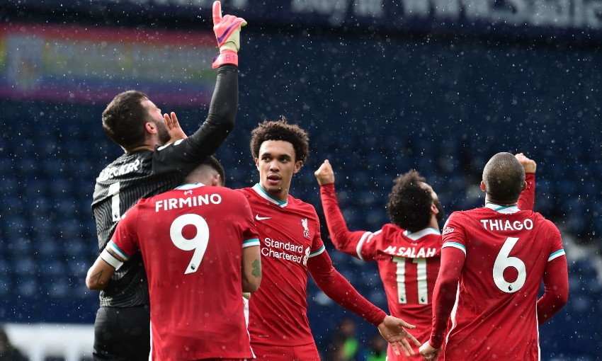 Alisson Becker celebrates goal for Liverpool v West Brom