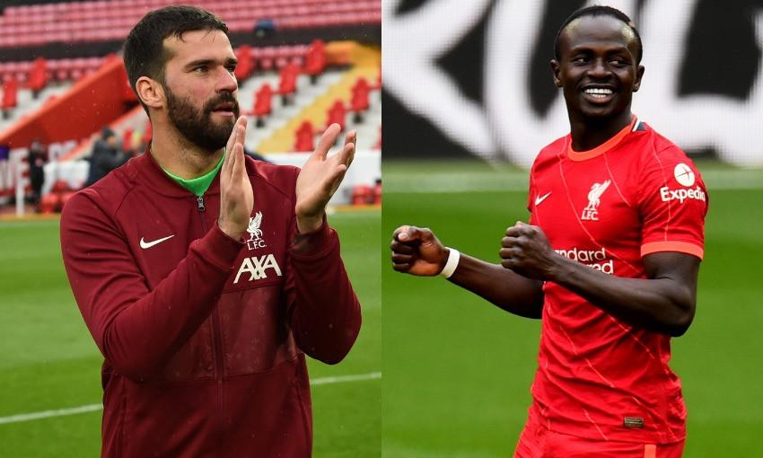 Alisson Becker and Sadio Mane of Liverpool FC