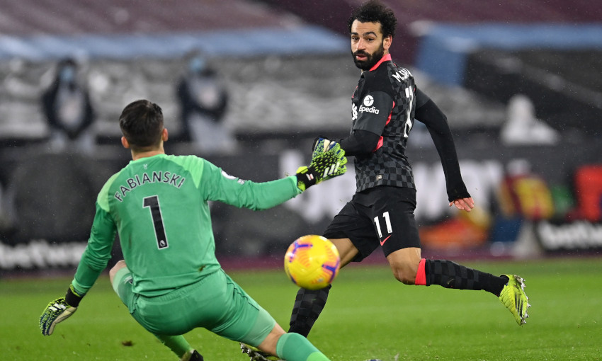 Mohamed Salah scores against West Ham United