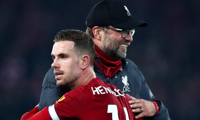 Jürgen Klopp and Jordan Henderson of Liverpool FC