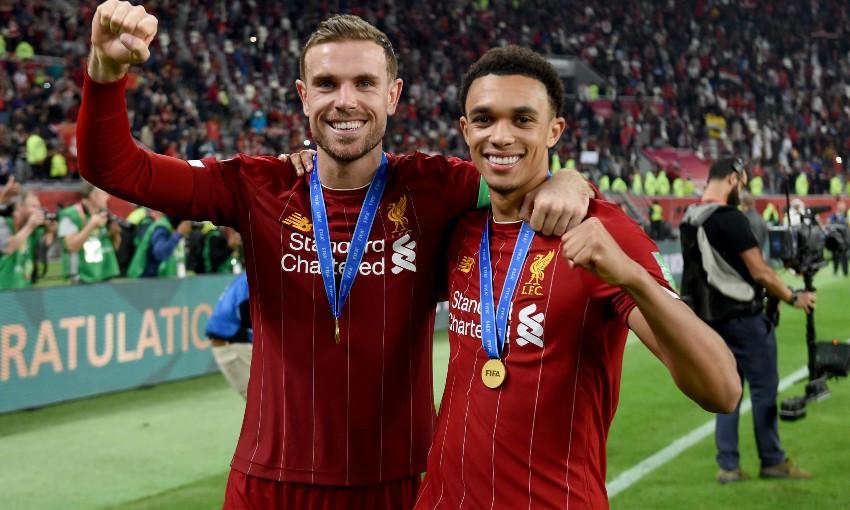 Jordan Henderson and Trent Alexander-Arnold of Liverpool FC
