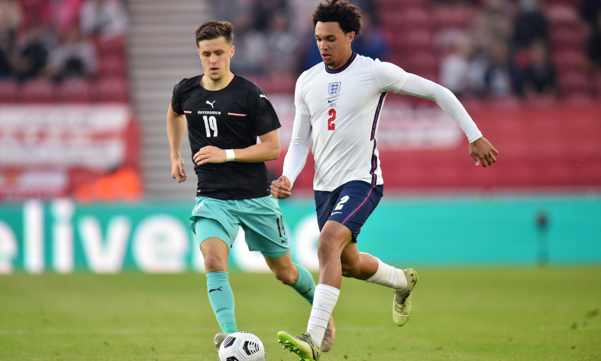 Trent Alexander-Arnold in action for England, 2/6/2021