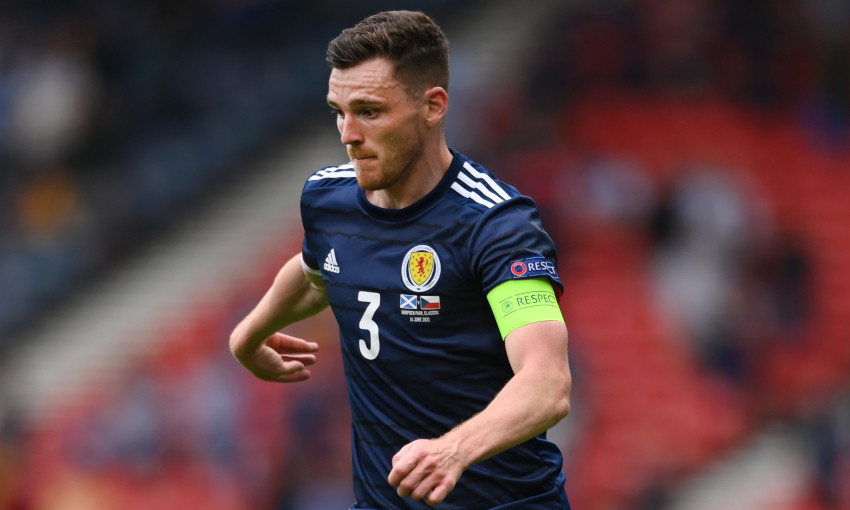 Andy Robertson in action for Scotland at Euro 2020