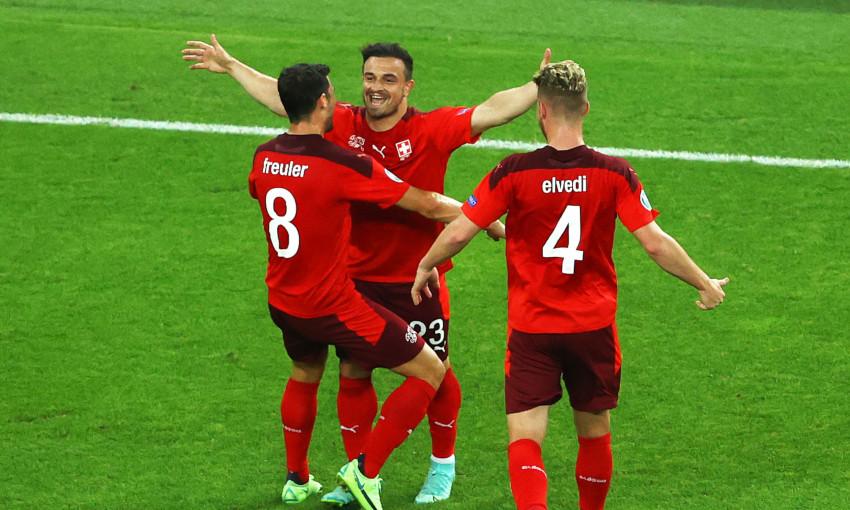 Xherdan Shaqiri celebrates scoring for Switzerland at Euro 2020