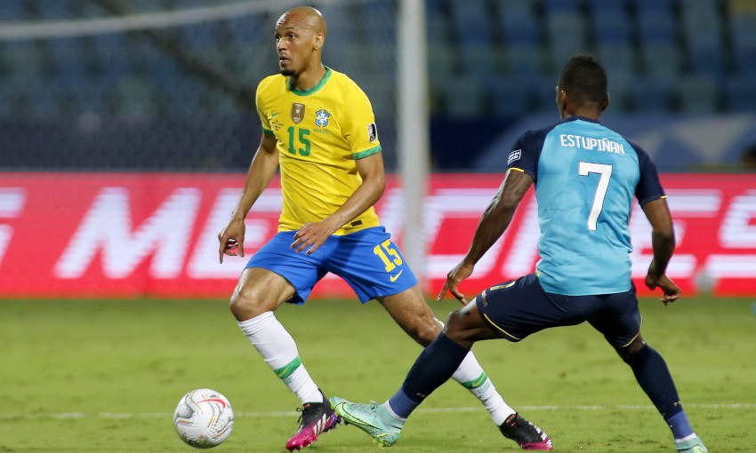 Fabinho in action for Brazil at the Copa America