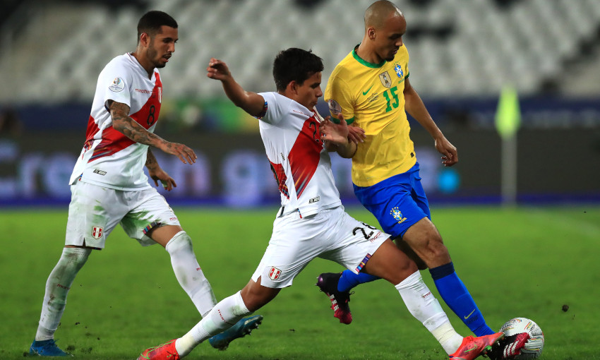 Fabinho in action for Brazil at the 2021 Copa America