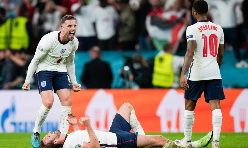 Jordan Henderson in action for England at Euro 2020