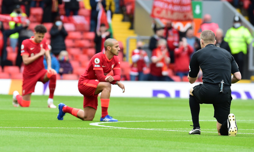 Liverpool FC players taking the knee