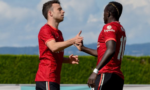 Diogo Jota and Sadio Mane of Liverpool FC