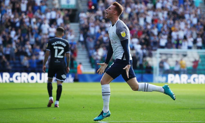 Sepp van den Berg celebrates scoring for Preston North End