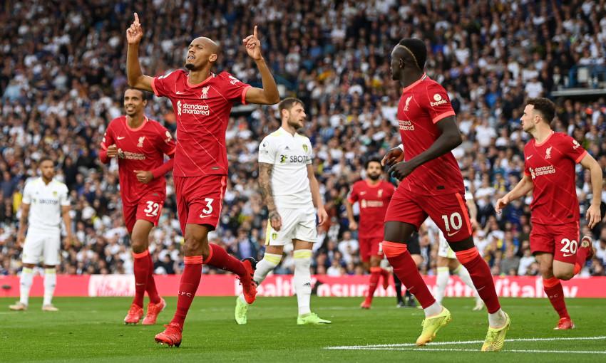 Fabinho celebrates scoring against Leeds United