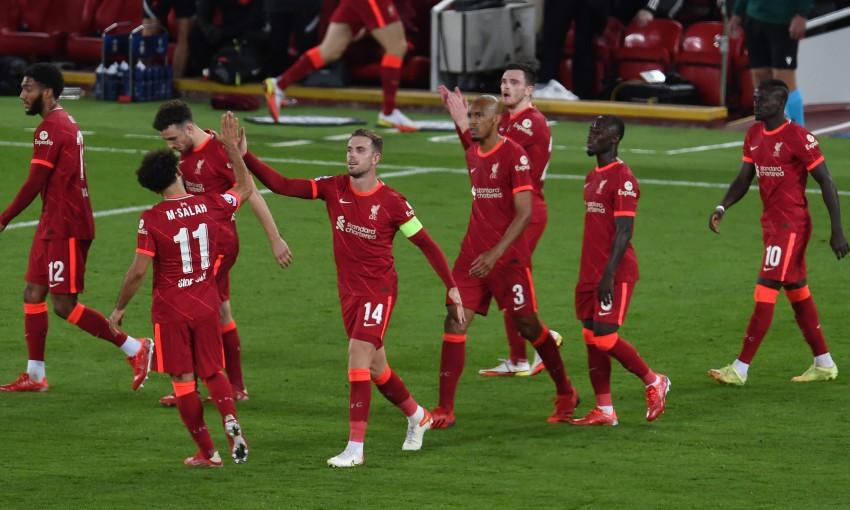 Jordan Henderson celebrates goal in Liverpool v AC Milan