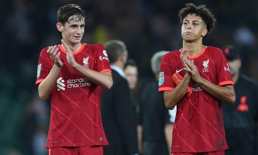 Tyler Morton and Kaide Gordon of Liverpool FC