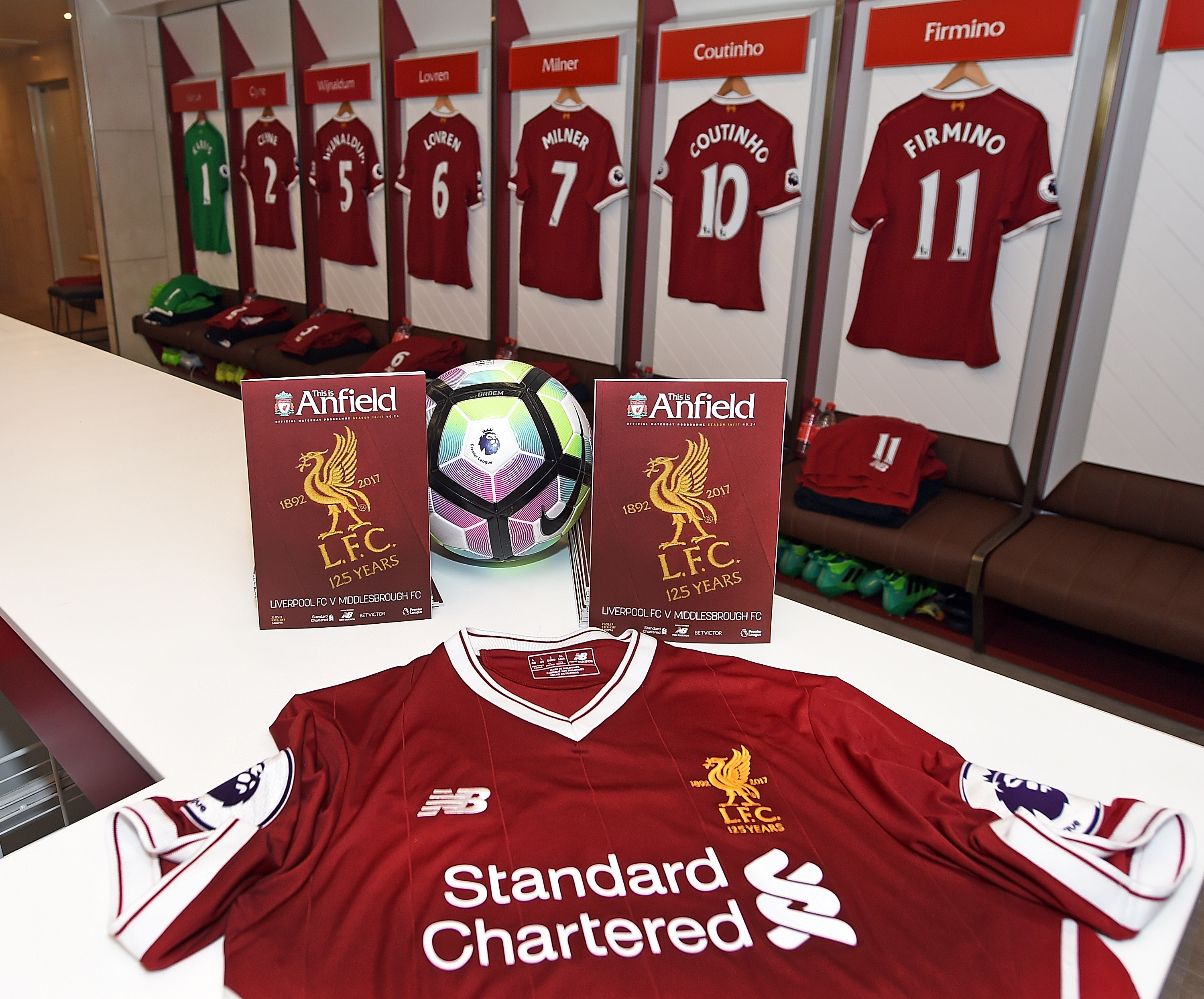Liverpool s brand new 2017-18 New Balance home kit is laid out ahead of the  players wearing it for the first time. You can get your hands on it - and  our ... e51b8eb28