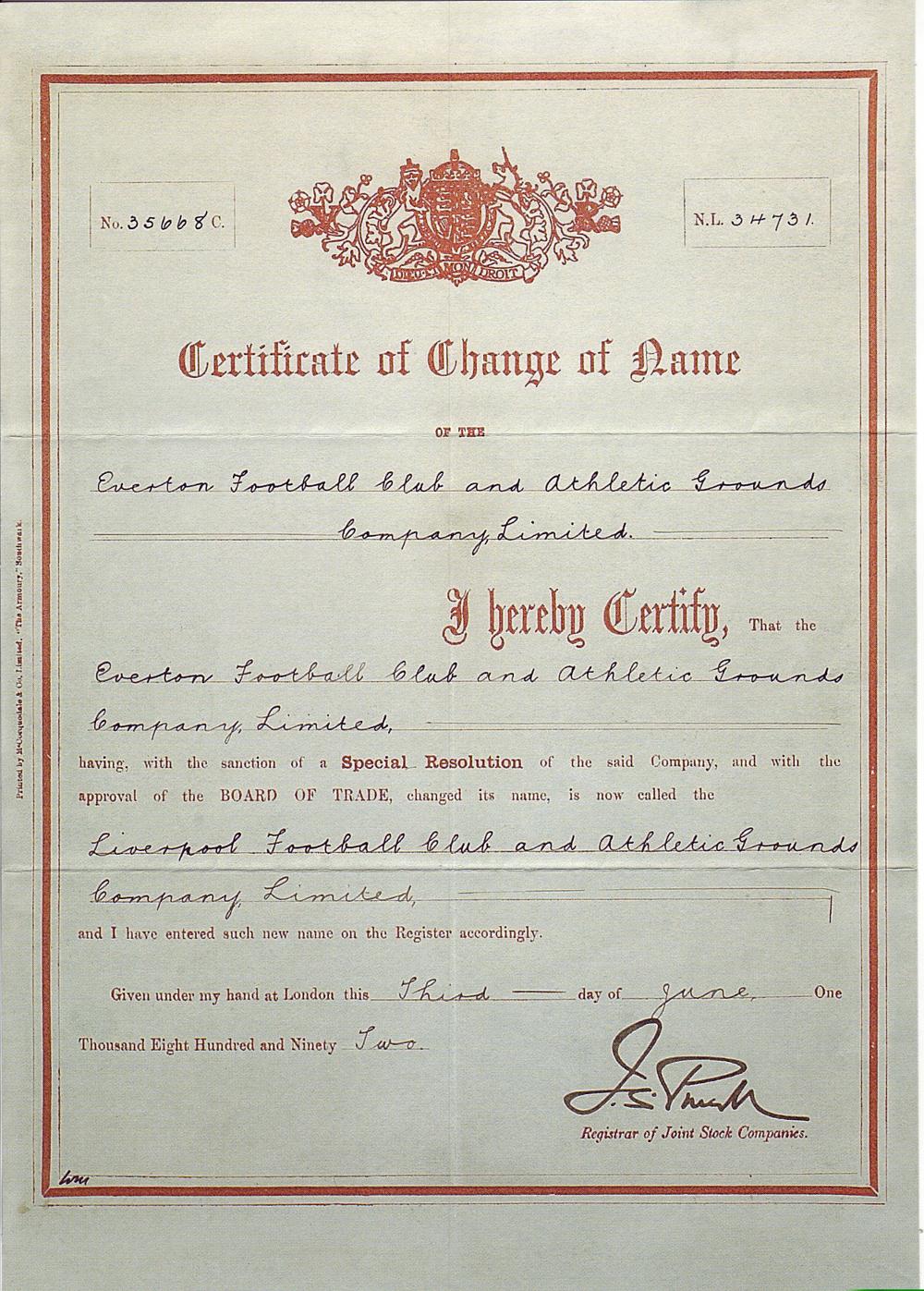 Imágenes Icónicas: El \'certificado de nacimiento\' del Liverpool FC ...
