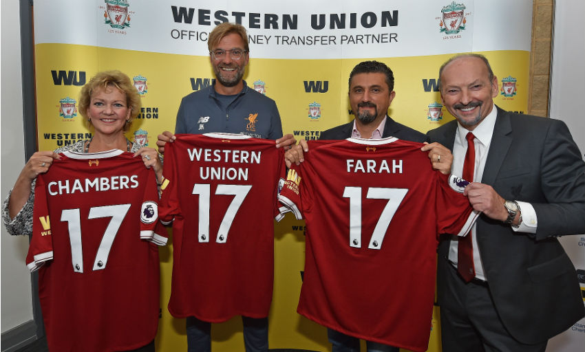 Western Union s logo is the first to appear on the shirt sleeves and sixth  to appear on the shirt since the inception of Liverpool FC in 1892. e27bc2e75