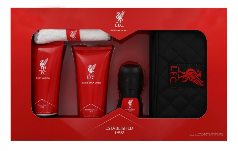 including hair and body wash and body lotion roll on anti perspirant face cloth with red liverbird label black washbag with diamond stitching and