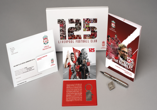 To celebrate the club's 125th year, you will also receive an exclusive pack including a commemorative, limited edition book '125 Moments that Made LFC'.