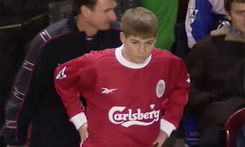 Steven Gerrard makes his Liverpool debut