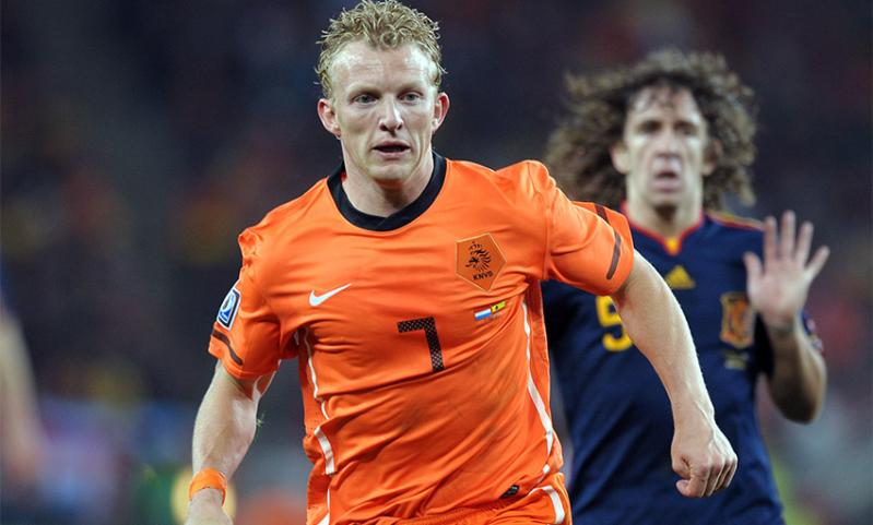 Liverpool and Netherlands forward Dirk Kuyt in action during the 2010 World Cup final against Spain.