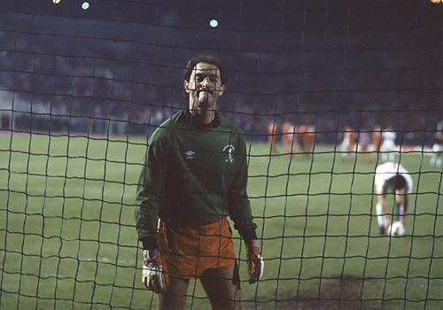 Bruce Grobbelaar during the penalty shootout in the 1984 European Cup final